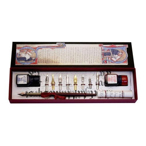 Buy From our range of stationery gifts, the Wooden Pen with 8 Nibs and 2 Ink Bottles makes a lovely gift for any calligrapher.  International and Next Day Delivery Available.
