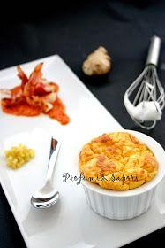 Il soufflè di carote e zenzero con i gamberoni e la loro crema
