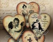 CUORE tag regalo No1 - Digital Collage foglio stampabile Scarica San Valentino gioielli titolari Vintage carta Craft saluto carte rottami-prenotazione