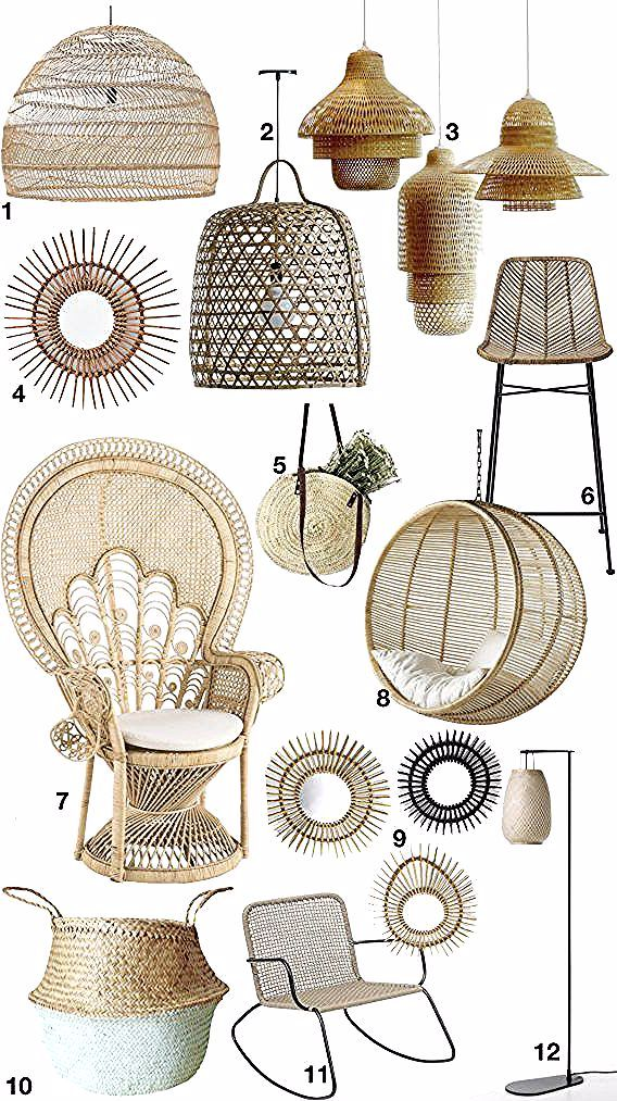 Deco Rotin Osier Palmier Bambou Lampe Lampadaire Suspension Sac Fauteuil Suspendu Chaise Blog Deco Clemaroundthecorner Choix Articles In 2020 Wicker Wicker Chair Decor