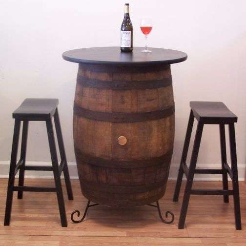 Vintage White Oak Barrel Table- (2) Bar Stools -Wine Tasting-Bistro-Bar-Pub-Home #AuntMollysBarrels