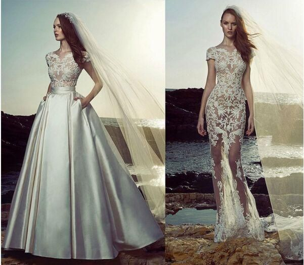 2016 Zuhair Murad Detachable Train Lace Stain Cap Sleeve Beach Wedding Dresses Hot Two Pieces Cheap Plus Size Wedding Gown Pakistani Wedding Dresses Second Hand Wedding Dresses From Gaogao8899, $165.83| Dhgate.Com