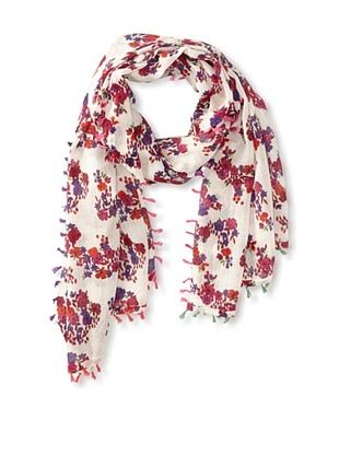 67% OFF Saachi Women's Floral Printed Scarf With Tassels, Fuchsia