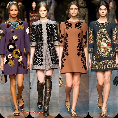 Dolce + Gabbana FW '14  Stylist Picks: These dresses may be steeped in medieval times but they are perfectly wearable for present day.  Source: oncewheniwas.com