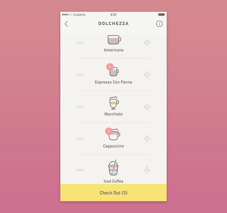 Coffee app by Cuberto