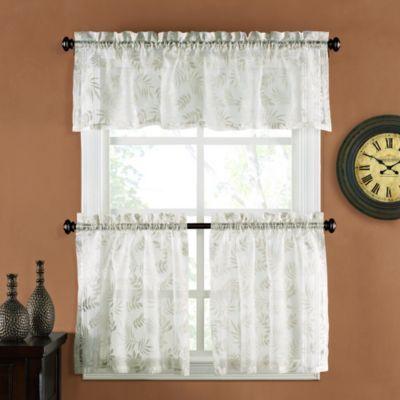 Palm Burnout Linen Window Curtain Tiers - BedBathandBeyond.com