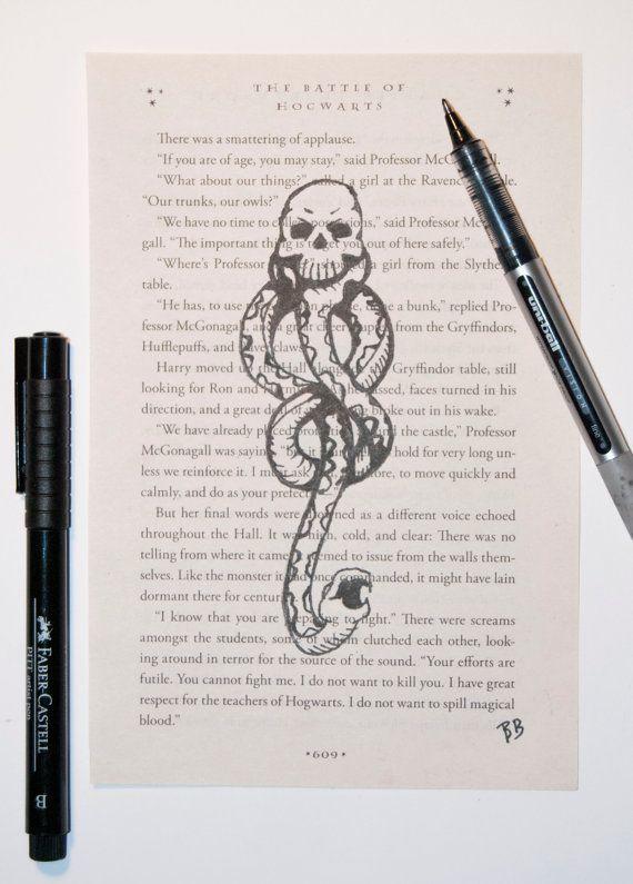 Dies Ist Eine Originale Tuschezeichnung Des Dunklen Zeichens Uber Einer Aktuellen Seite Von H Harry Potter Dark Mark Harry Potter Drawings Harry Potter Tattoos