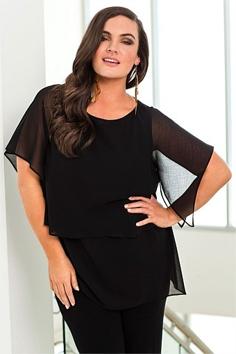 Women's Tops - Evans Chiffon Top - EziBuy New Zealand.  Think the layering looks nice and would suit a long bright necklace.