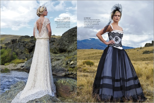 Couture NZ bridal designer collection as seen in the latest Bride & Groom magazine, issue 72. Designs by Corina Snow and Liz Mitchell. Photos by Amanda Bransgrove.  www.brideandgroom.co.nz