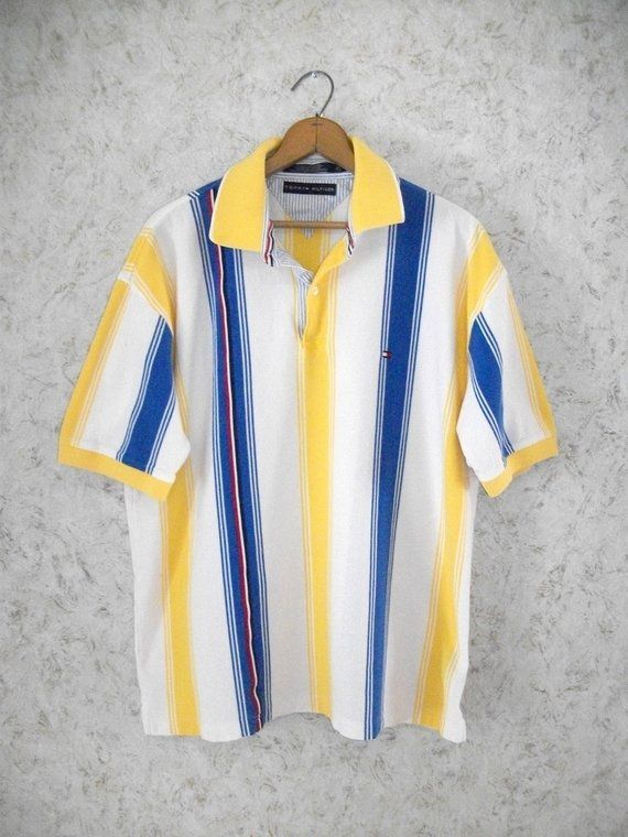 88c849661 90s TOMMY HILFIGER Striped Polo Shirt Yellow Blue Short Sleeves Preppy Vintage  Retro Hipster Cotton Summer Shirt Mens XL