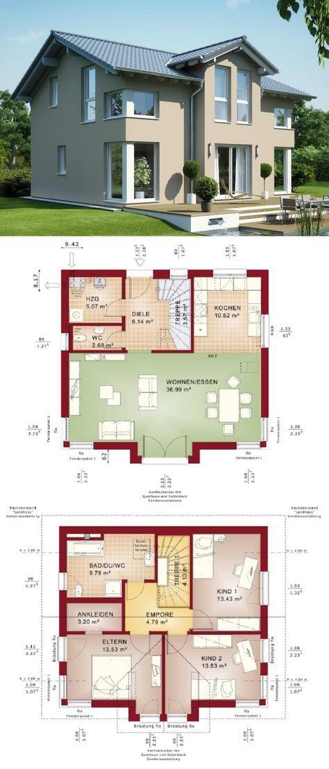 Einfamilienhaus Architektur mit Satteldach & Querh…