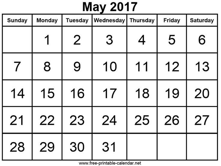 2017 may calendar