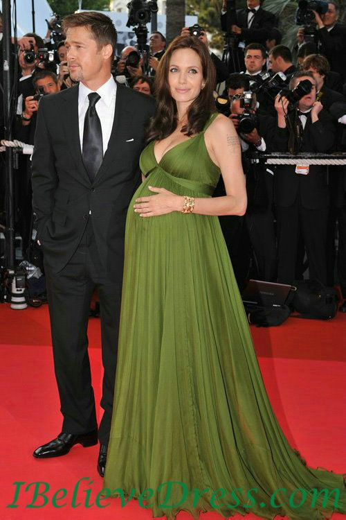 Gorgeous Chiffon Angelina Jolie Green Maternity Evening Dresses Best,Gorgeous Chiffon Angelina Jolie Green Maternity Evening Dresses Best - Selena gomez dresses, taylor swift dresses, celebrity look alike dresses-ibelievedress.com