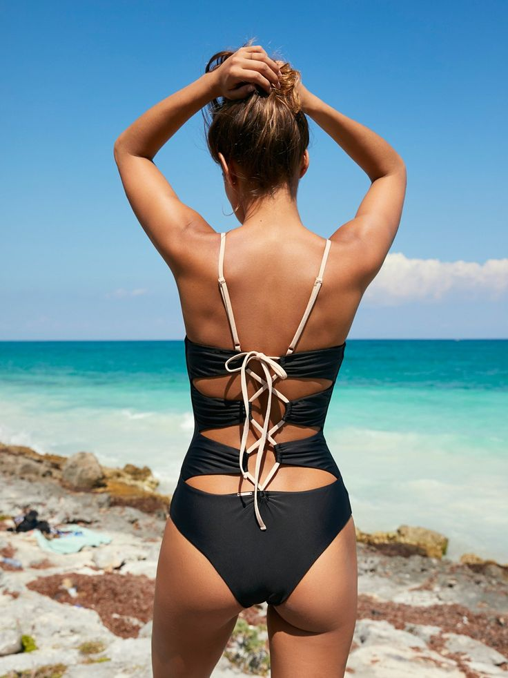 Florence Tied Sides One Piece | This sweet one piece features lacing detail on the sides. Lined. *By Acacia