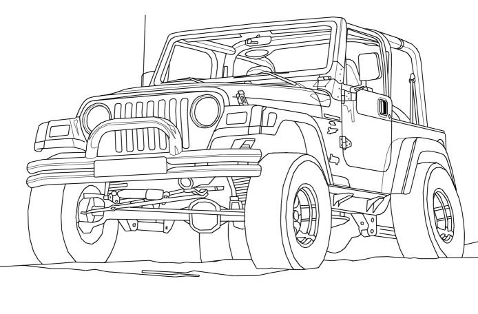 jeep wrangler coloring book page   cartoon  drawing  art  kids