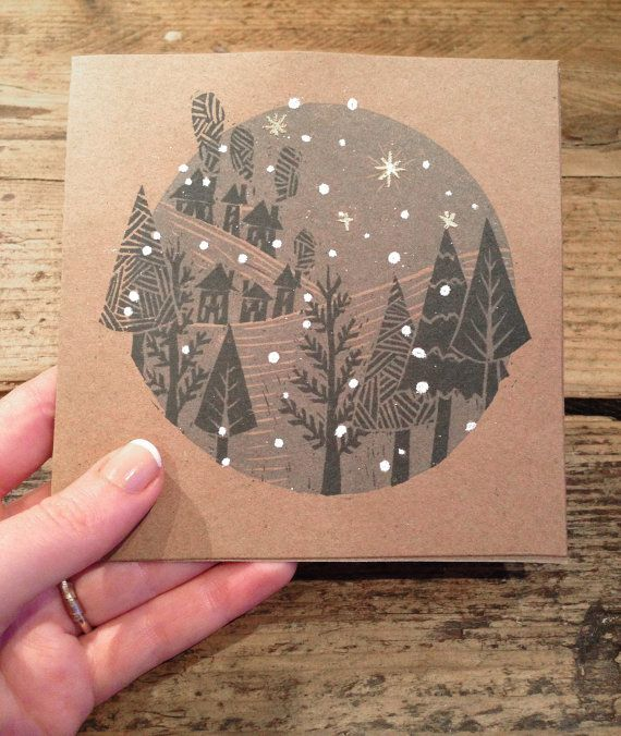 Handmade Embossed Lino Print Christmas Card by SixEightUK on Etsy