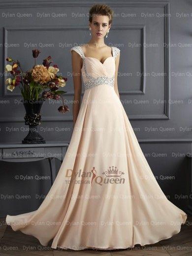 Trendy A-Line/Princess Straps Sleeveless Beading Floor-Length Chiffon Dress