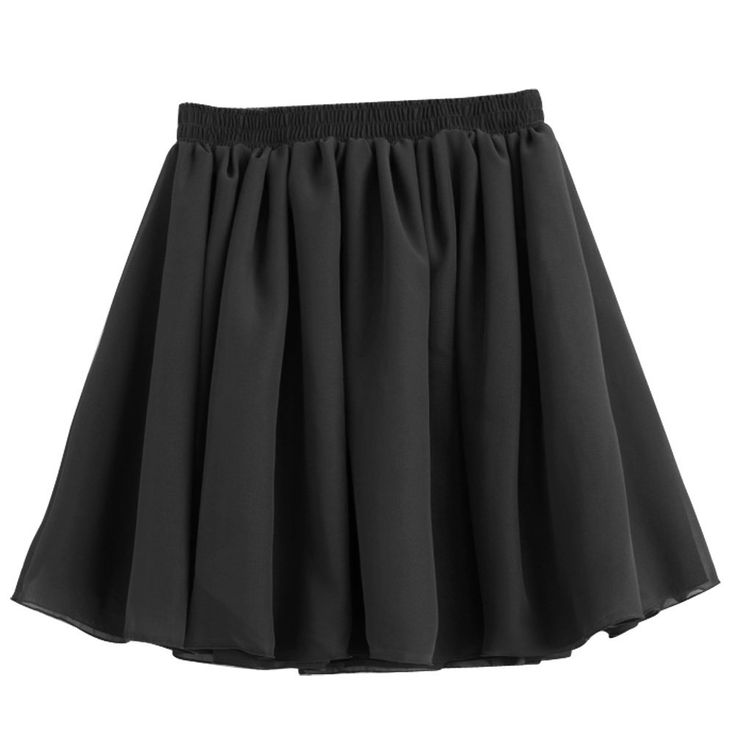 TFOY 2016 NEW Black Retro Elastic High Waist Pleated Double Layer Chiffon Short Mini #Affiliate