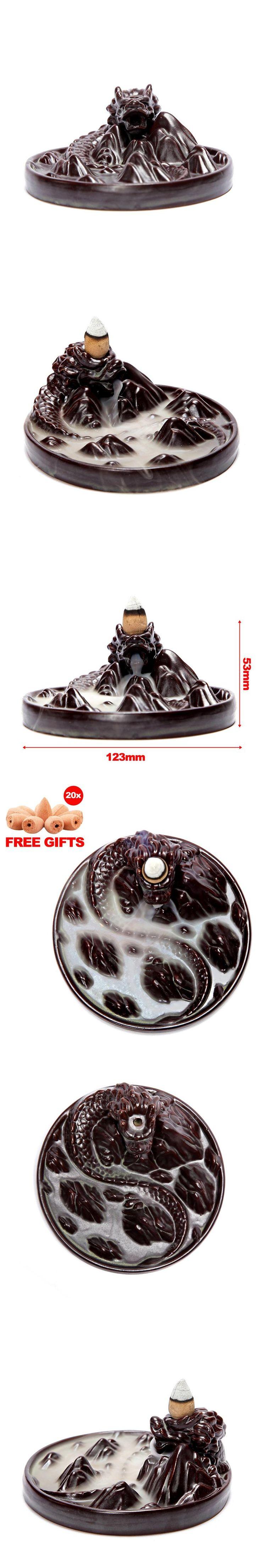 20 Pcs Incense Cones + Dragon Backflow Incense Burner Holder Home Decor Aromatherapy Ceramic Censer
