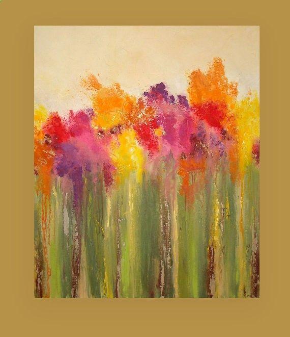 Gardening Autumn - Il s'agit d'un original d'une peinture de genre. Si vous êtes intéressé dans quelque chose de similaire dans une taille différente, s'il vous plaît me contacter. Magnifiques riches nuances de jaune, orange, rouge, fuschia, prune et terre cuite dérivent vers le bas pour couches de multiples nuances de verts. Il y a une superposition de craie dans les zones pour créer plus de profondeur et ce tableau a une texture magnifique. Il y a aussi des touches subtiles de métall...