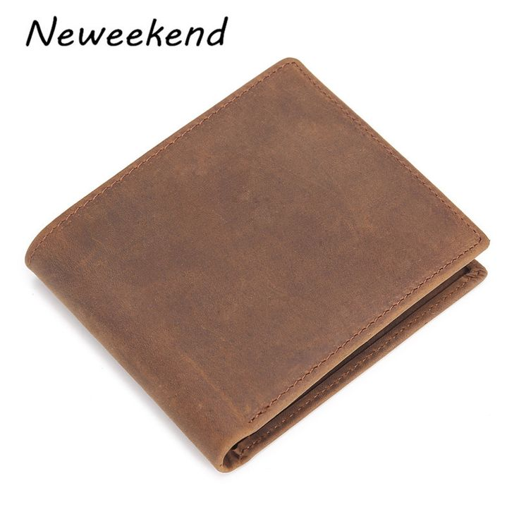 NEWEEKEND 571 Vintage Genuine Leather Cowhide Crazy Horse Smooth One Fold Short Thin Cash Change Card Wallet Purse for Man