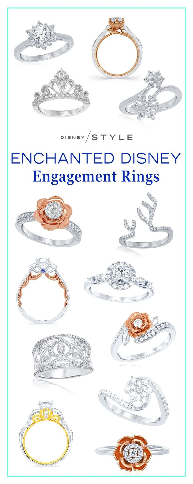 The new Enchanted Disney engagement rings are truly magical! | Disney Weddings diamond rings with gold + rose gold accents inspired by Cinderella, Belle, and Elsa. | [ http://di.sn/60028DmZs ]
