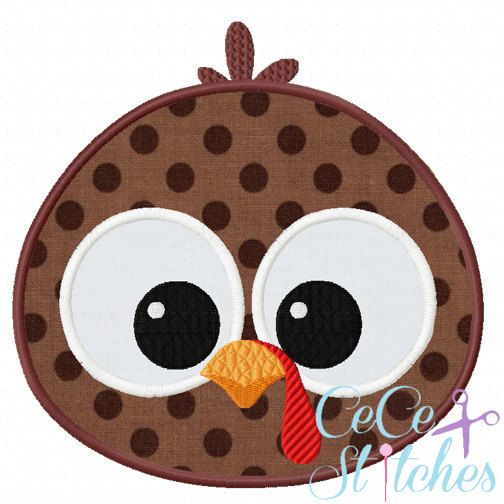 Turkey Boy Face Fall Applique Design by sapphiremommy on Etsy
