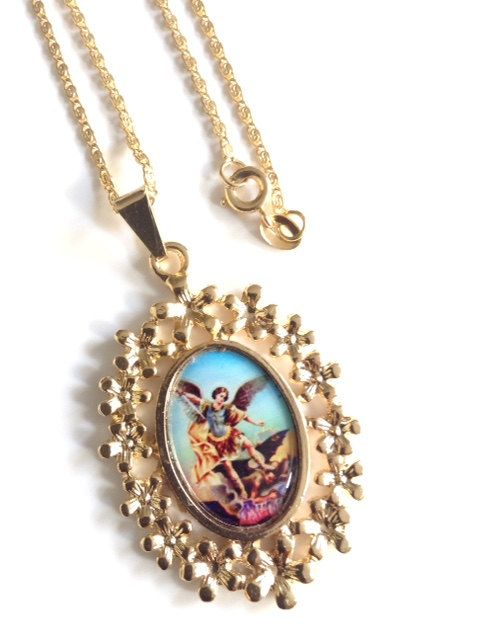 Archangel Michael Medal Necklace, Archangel St Michael gold Oval pendant Cristian Jewelry Catholic gifts Religious Medals Catholic Jewelry