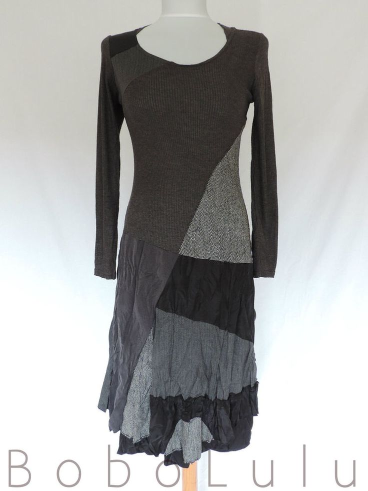 A gorgeous sweater style dress in multi textured fabrics. MULTI TEXTURED DRESS. 'MADE IN ITALY'. NO NAPE LABEL IN DRESS. Such an amazing lagenlook - mori girl dress. Crinkle textured skirt of. Block Plain Grey. | eBay!