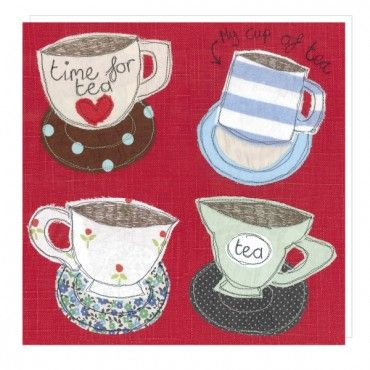 Teacups greeting card by Poppy Treffry
