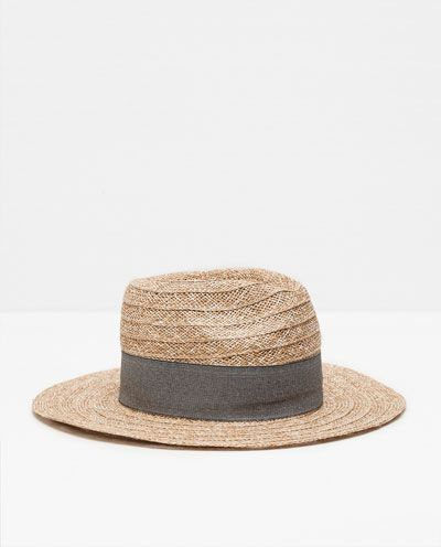 Image 1 of RAFFIA HAT WITH BLACK RIBBON from Zara