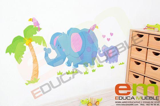 Pegatinas grandes de elefantes. Se pueden cor en un espejo, en la pared o en una cristalera. Tienenuna superficie mate y son fáciles de quitar. #Decoración #Infantil #Dormitorio - Tienda Educamueble