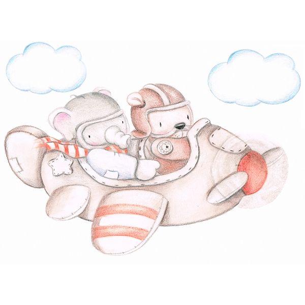 Decoración infantil Il Mondo di Alex, Vinilos - Stickers efecto pintado a mano, AVIONETA... personalizado con nombre o frase y a medida.
