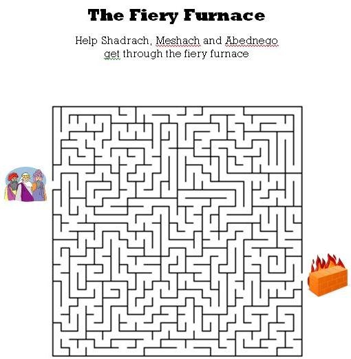 www.kidsbibleworksheets.com-The Fiery Furnace bible maze