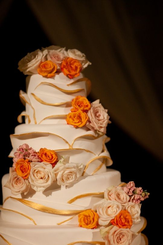 Burnt Orange And Chocolate Brown Wedding Cakes