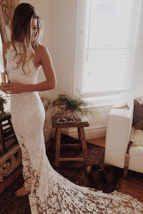 Romantic Boho Wedding Dresses,Beach Wedding Dress,High Neck Wedding Gowns,Mermaid White Dress,Princess Backless Lace Skirt Wedding Gowns