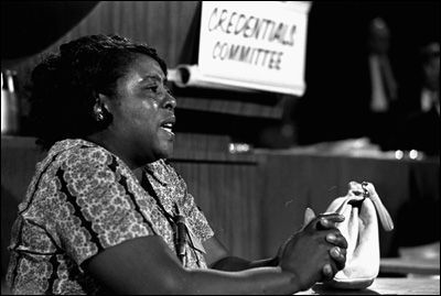 Fannie Lou Hamer (October 6, 1917 - March 14, 1977) was a 44-year-old sharecropper when she began registering voters throughout the South after SNCC organizer James Bevel spoke to residents of Ruleville, Mississippi asking for volunteers. She and her husband were fired the next day, and she was later jailed and severely beaten. She became a mother figure to the younger SNCC members, often singing hymns on their journeys and at meetings. She was one of the founders of the Mississippi…