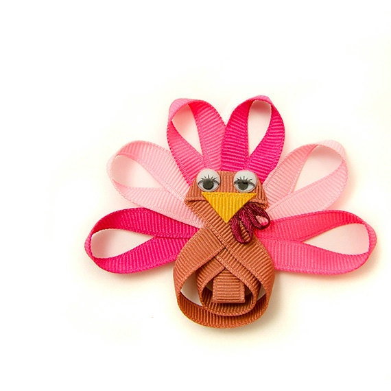 Pink Turkey Hair Bow, GIrly Turkey Clip for Baby, Glam Turkey Hair Clip, Toddler Hair Clip for Girls, Children Holiday