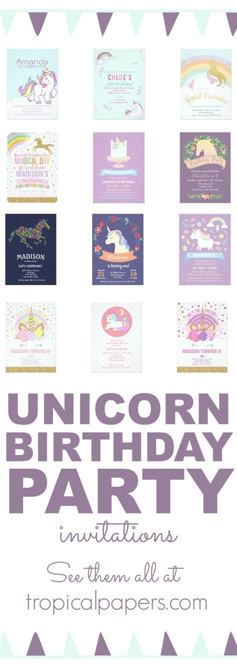 Throwing a unicorn theme birthday party for your little girl? Check out our full selection of beautiful unicorn design birthday party invitations, perfect for her big day!