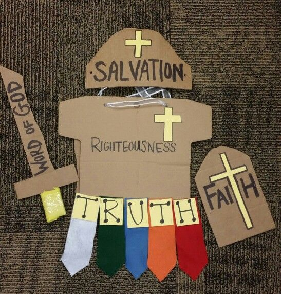 Armor of God DIY costume 1 cardboard box, felt, construction paper, sharpie, glue stick, and stapler Made this an an hour