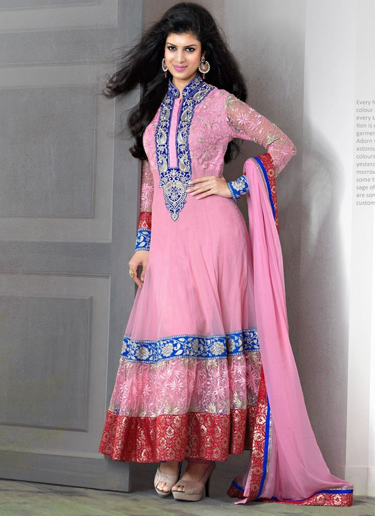 Shop this product from here.. http://www.silkmuseumsurat.in/pink-embroidery-work-net-anarkali-suit?filter_name=4671  Item :#4671  Color: Pink Fabric: Net Occasion: Bridal, Party, Reception, Wedding Style: Anarkali Dress Work: Embroidered, Patch Border, Resham