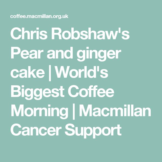 Chris Robshaw's Pear and ginger cake   World's Biggest Coffee Morning   Macmillan Cancer Support