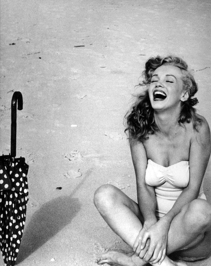 Marilyn, laughing