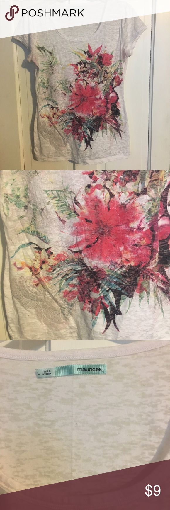 Maurice's burnout tee with flower design White burnout tee from Maurices..bright Hawaiian like flower design..scoop neck..size large Maurices Tops Tees - Short Sleeve