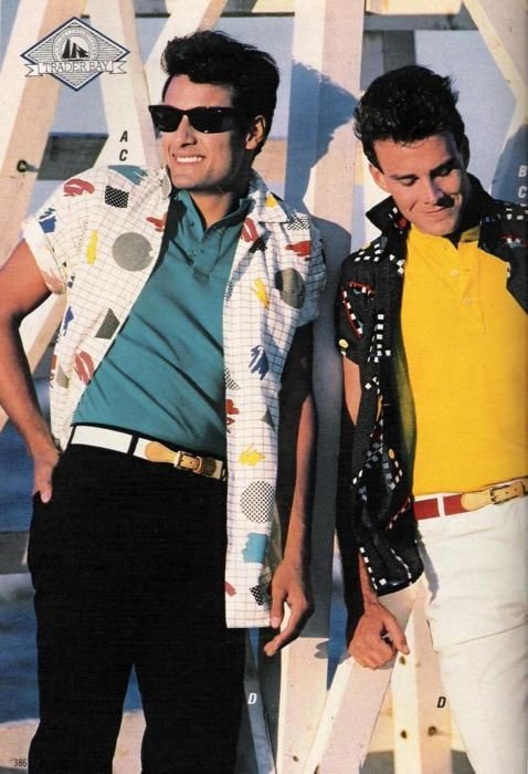 1987 advert for men's fashions.  Turquoise shirt with black pants, and that white button up is so rad. 80's styling~