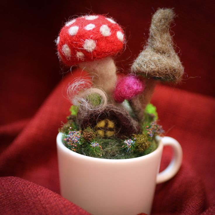 Wouldn't it be great curled up in front of that fire in the fairy cottage http://www.lomahsee.com/product/felted-fairy-garden-teeny-tiny-mug/ #fairies #faeries #feltedgardens #felting #needlefelting #gifts #cute #uniquegifts #handmadeisbetter #handmade #craft #crafted #handmadegifts #spring2018 #soring #mushrooms #fairycottage