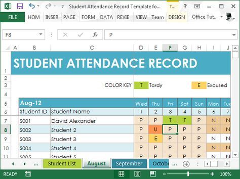 For the student attendance itself, the attendance tracker is separated on a monthly basis, so you can easily toggle through different attendance months. Description from free-power-point-templates.com. I searched for this on bing.com/images