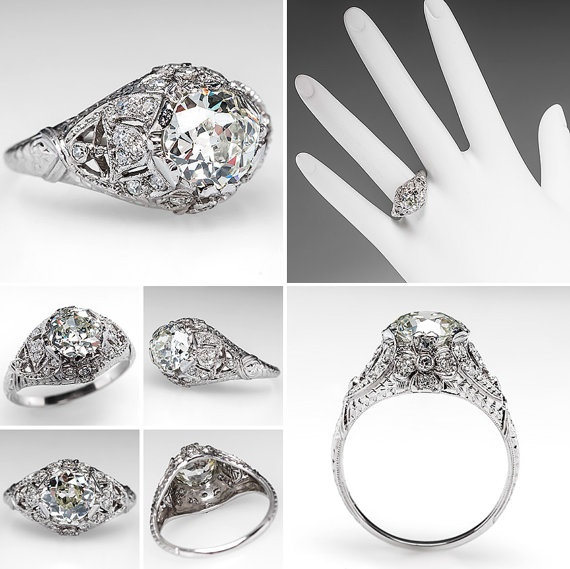 1920s engagement ring 15 carat old mine cut diamond by eragem 1249900 - 1920s Wedding Rings