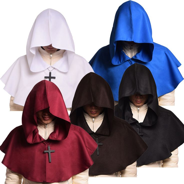 1pc Medieval Hooded Wicca Pagan Cowl Hood Halloween Fancy Dress Hat 5 Colors…