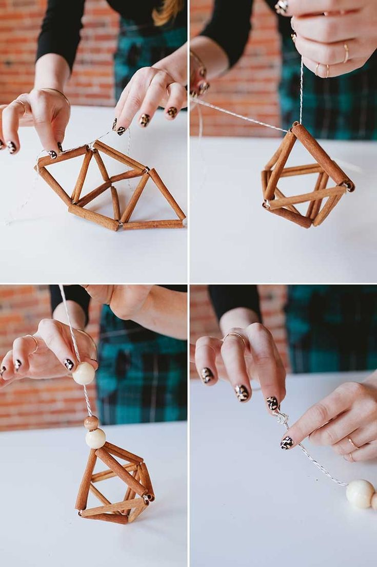 DIY cinnamon stick himmeli // jojotastic.com learn how to make your own ornament with wooden beads, bakers twine, and cinnamon sticks. this tutorial is easy and great for handmade ornaments at Christmas!